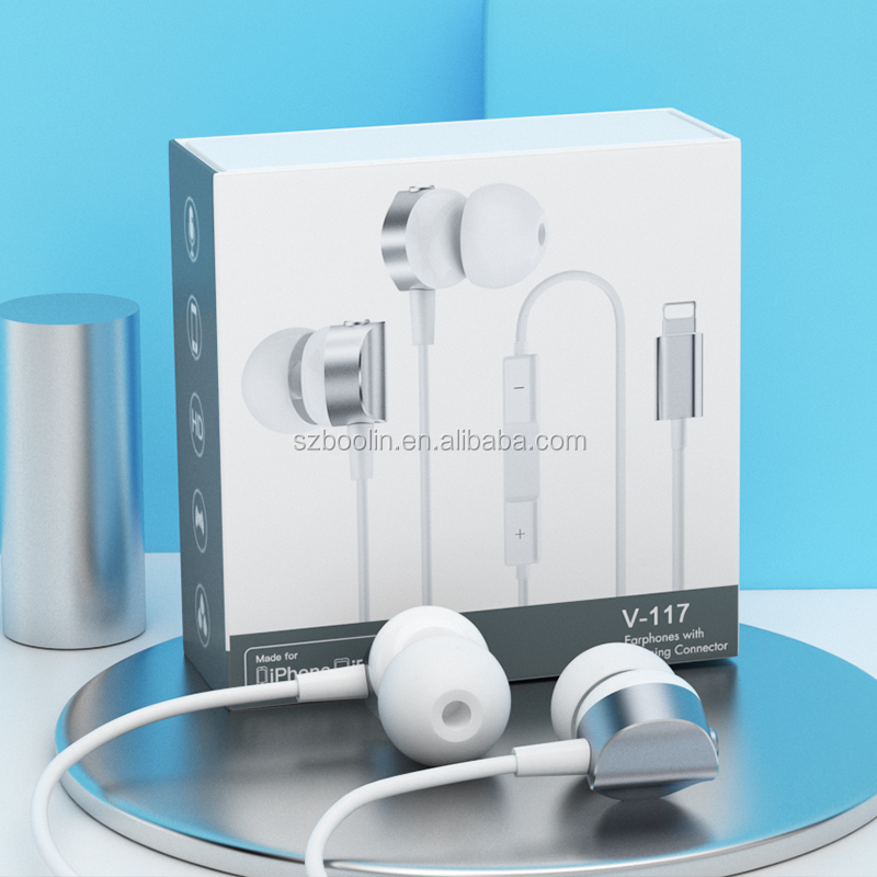 Stereo wired metal in earphone music bass earphone Original <strong>C100</strong> IC Lightning 8pin earbuds with mic for iPhone 8 7 Plus X XS MAX