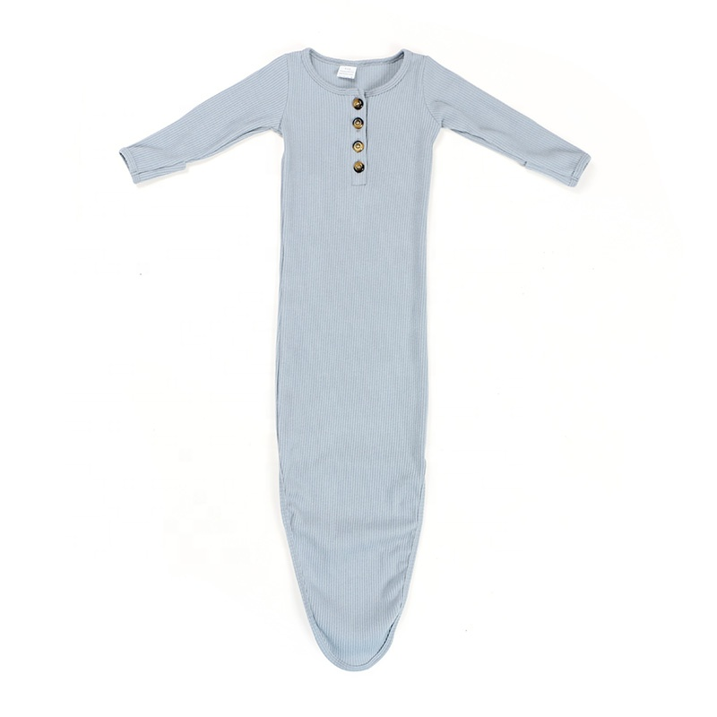 Wholesale Baby Girls Soft Ribbed Cotton Clothes Infant Sleeping Bag Toddler Knot Gown
