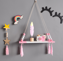 Wholesales Wooden Wall Decoration Storage <strong>Shelf</strong> for Kids Room Pine Wood Hanging Rack With Tassels