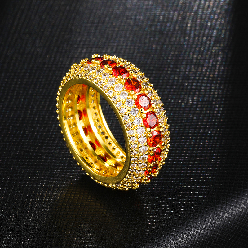 September promotion wild copper inlaid zircon ring hip hop jewelry accessories factory wholesale gold rings