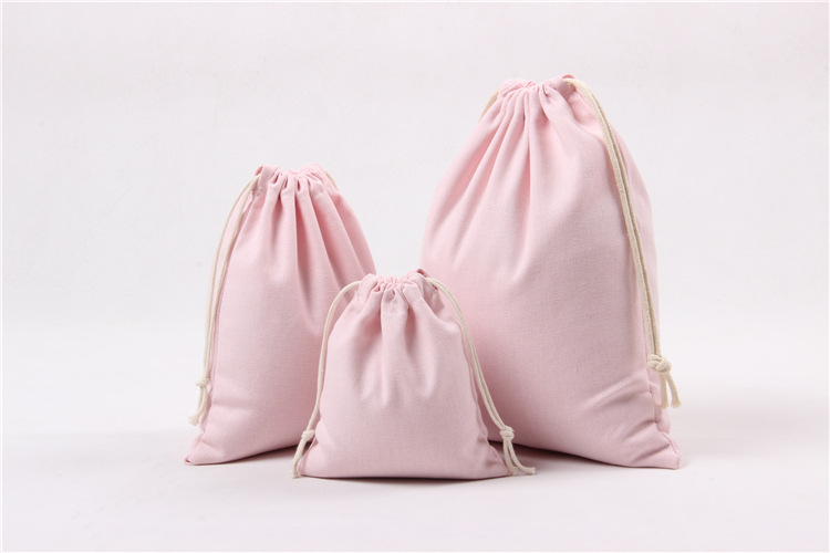 Custom logo calico covers cotton cloth pink drawstring bags, top silk oem shoe dust bag