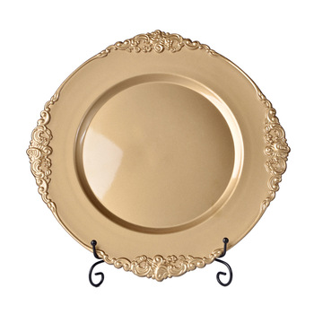 Wholesale party restaurant antique gold wedding plastic charger plates