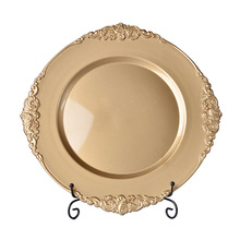 Wholesale party restaurant antique gold wedding plastic charger <strong>plates</strong>
