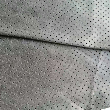 hot sale 20% pu 80% polyester knitting fabric perforated suede fabric pu soft waterproof fabric upholstery for bag