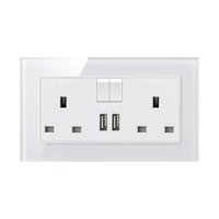 Best Cheap UK BS Standard Plug Outlet 13A British Switched 2 USB Electrical Wall Socket