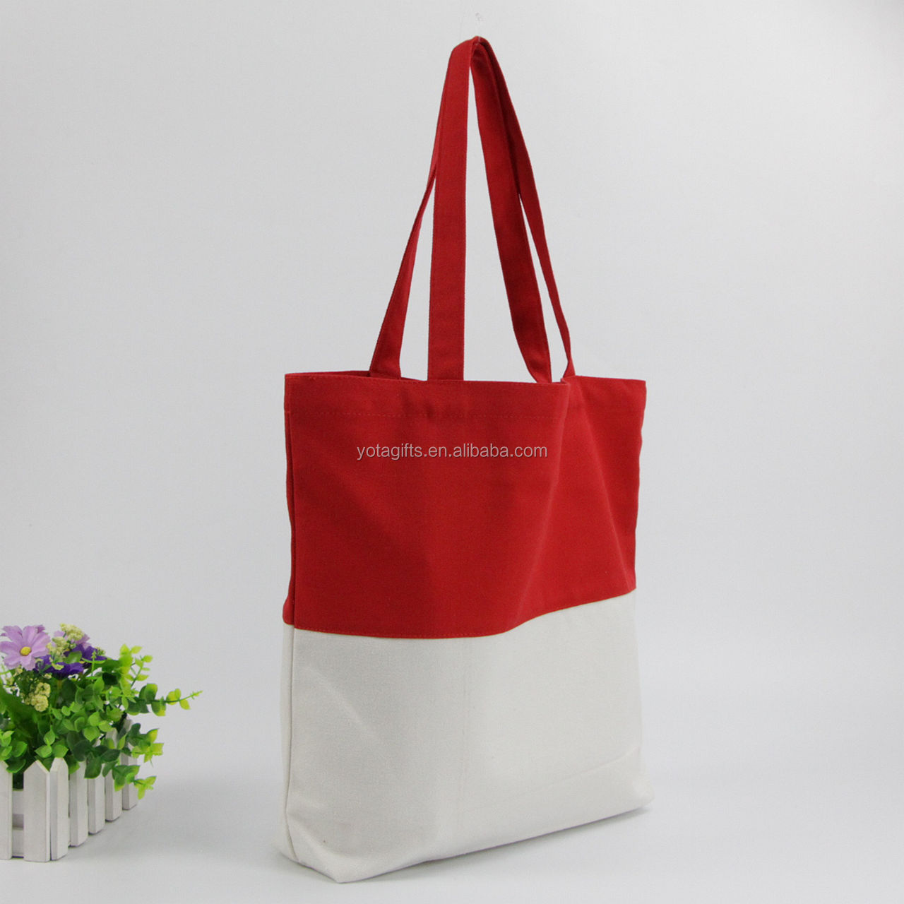 Cheap price natrual and red standard size cotton tote bag
