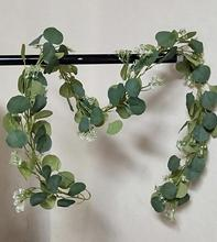 new hot selling Artificial 1.9M eucalyptus garland with baby's breath for home decoration or public <strong>wedding</strong>