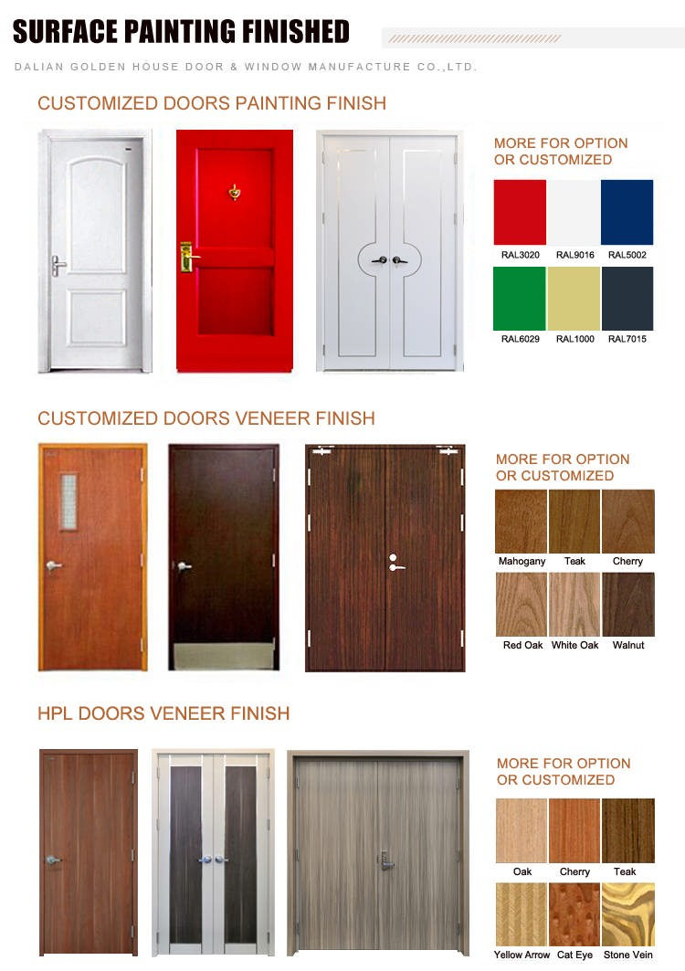 GH WHI UL Fire Rate Wooden Door surface treatment finished color