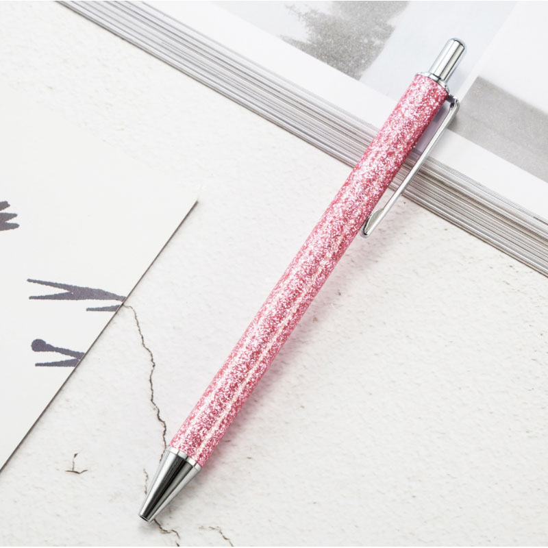 New High Quality Flash Gold Pink Press Ball Pen Creative Gift for Girls Promotional Boutique Advertising Signature Ballpoint Pen