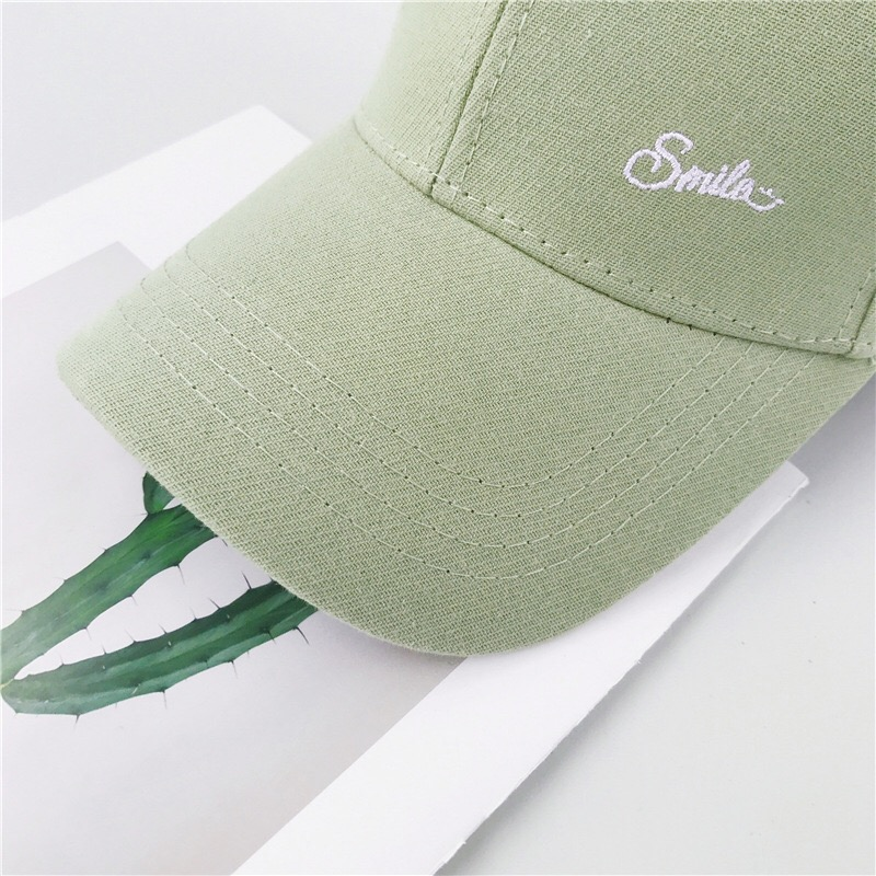 "2019  Fashion New Letter ""smile"" Embroidered Pure Color Cotton Soft Top Brimmed Embroidered Baseball Cap"