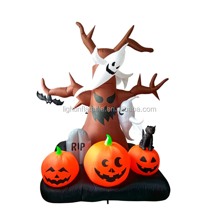 Club Halloween <strong>Inflatable</strong> Decoration Customized Lighting Tree <strong>Inflatable</strong> With Pumpkin L68