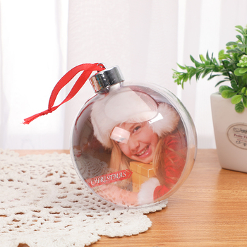 Wholesale plastic christmas flat ball ornaments Xmas Christmas Photo Ball