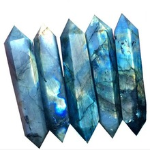 Natural blue rainbow moonstone double-pointed six prisms large crystal column <strong>point</strong>