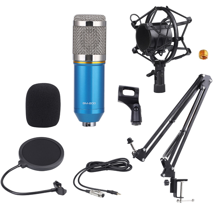 BM800 (<strong>C</strong>) Condenser Microphone Studio Bm 800 3.5mm Bracket Mini Condenser Mic Mike Podcast Microphone Recording Studio Equipment