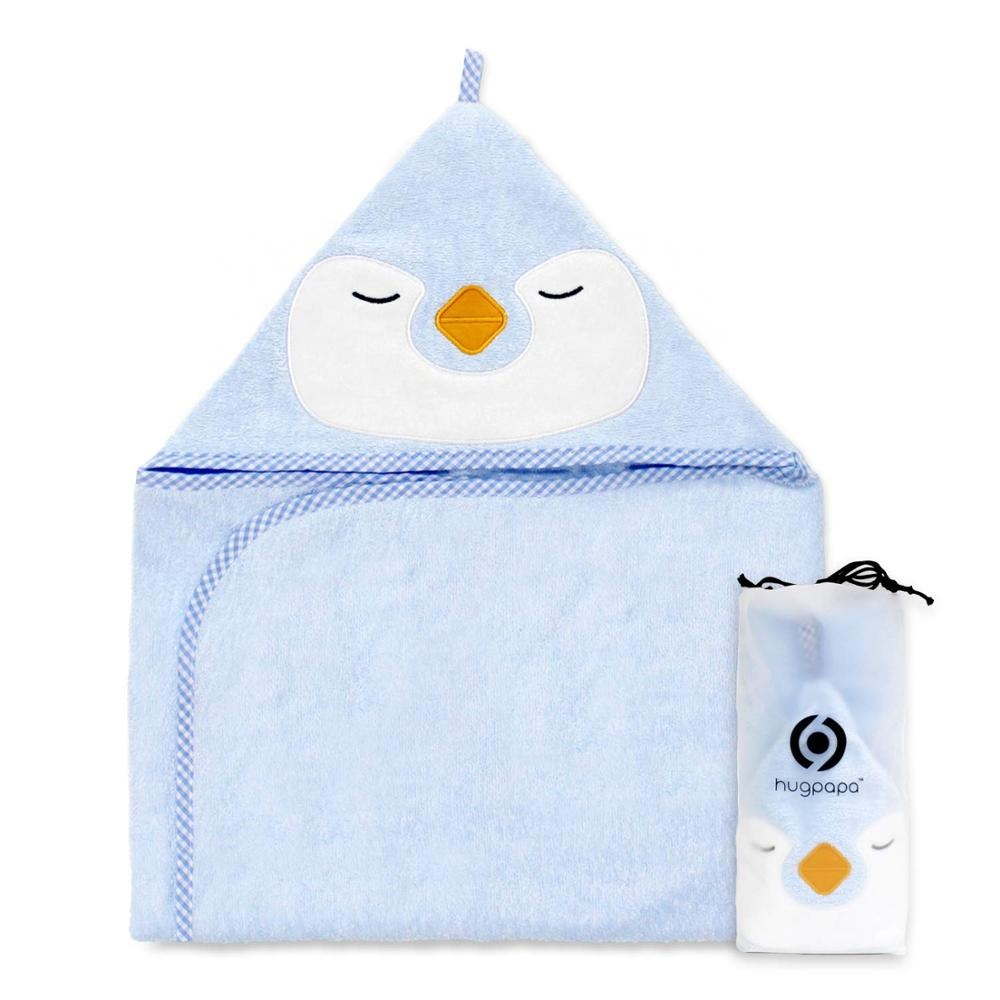 custom cute embroidery penguin hooded organic <strong>cotton</strong> baby towel set with washcloth