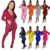 Fashion new solid sports wear hooded Pockets casual autumn 2020 Woman zipper Two Piece Pants Suit Set