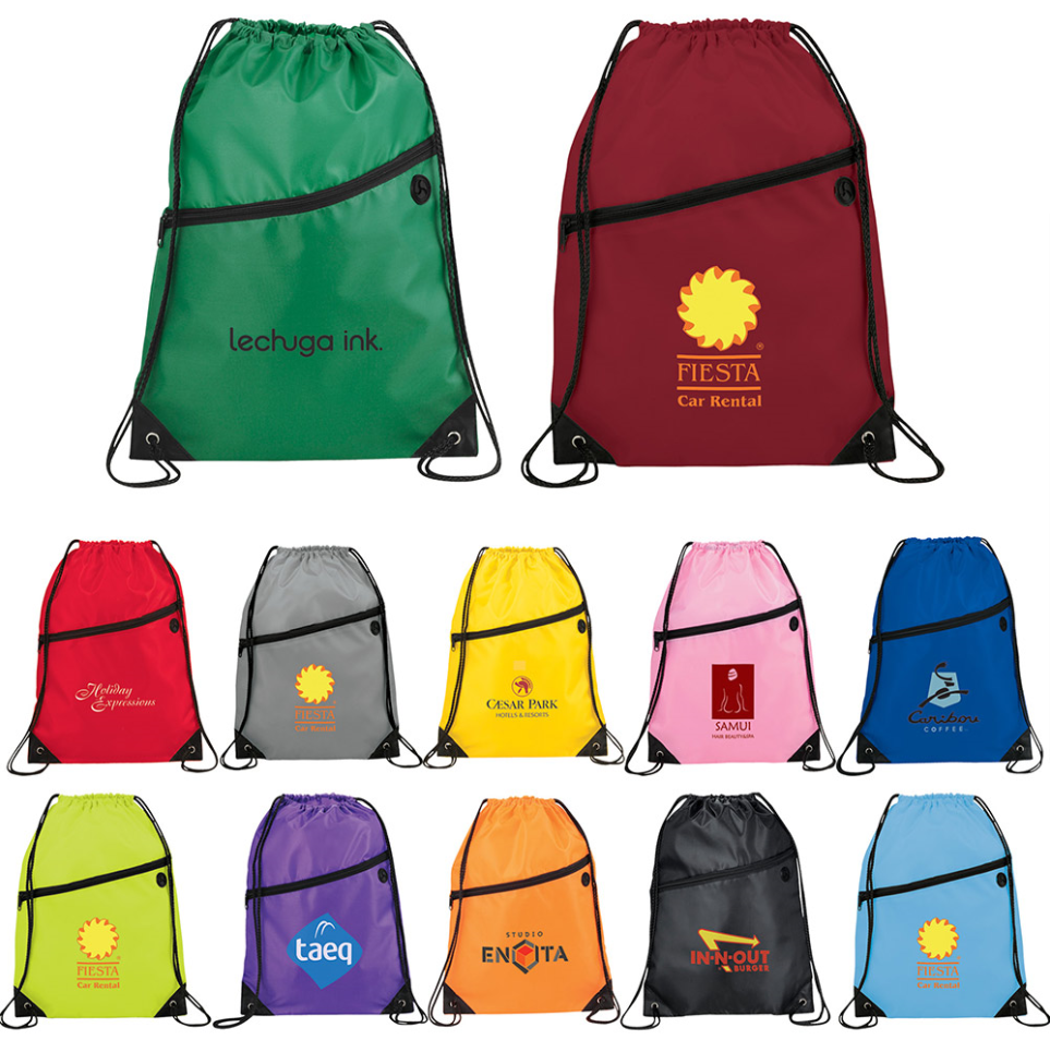 Custom Promotion Polyester Zipper Drawstring Backpack <strong>Bag</strong> with Earphone Front Pocket For Gym Sports