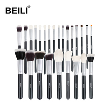 BEILI black 25 pincel maquiagem Natural Goat Pony Hair Professional Makeup <strong>Brushes</strong> private label wholesale makeup <strong>brush</strong> set