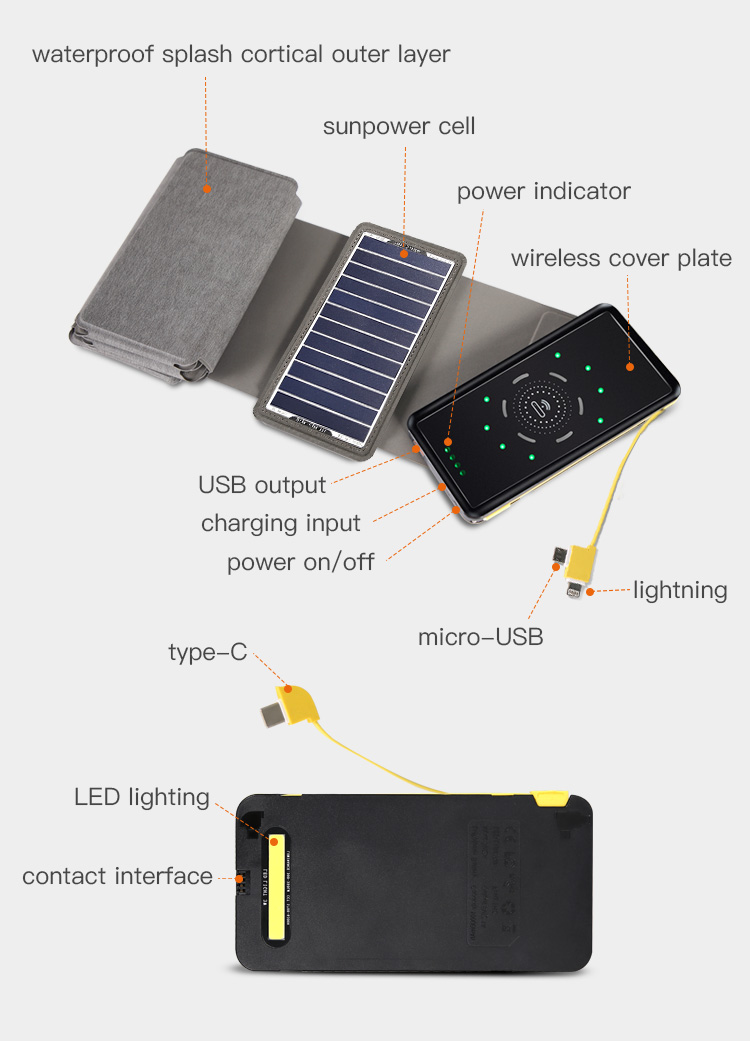 portable 10000mah wireless solar power bank,foldable solar panel charger
