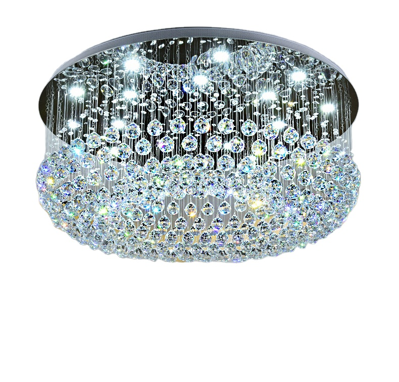 Dimmable with remote modern round led crystal ceiling lights living room <strong>lamp</strong> for bedroom, hotel