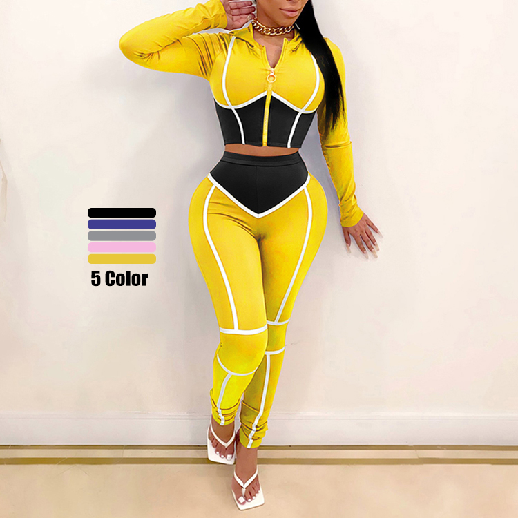 2020 New Design Women Fashion Two Piece <strong>Set</strong> Women Clothing Casual Tight Crop Top Hoodie And High Waist Pants Autumn <strong>Set</strong>