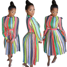 fashion elegant sexy long sleeves striped <strong>chain</strong> printed midi dresses for woman