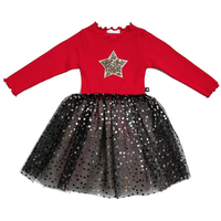 High Quality Children Winter Clothes Toddler Girls Red Cotton Long Sleeve Sequin Star Party Tulle Tutu Dress