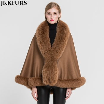 Factory Supply Women's Real Cashmere Fox Fur Poncho Winter Warm Capes Popular Soft Female Shawl