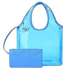 2019 China supplier wholesale new style fashion custom logo shopping colorized transparent women handbags set <strong>totes</strong> for ladies