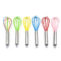 Silicone Wired Whisk Handheld Egg Mixer Blender Beating Kitchen Utensils