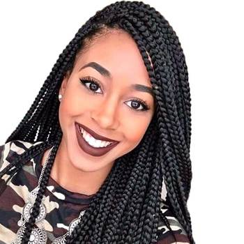 African American Full Box Braided Synthetic Lace Front Wig Black Crochet Briads Box Braid Wig Synthetic for Black Women