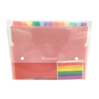 Plastic 13 pocket clear index inner of rainbow design A4 size index document file folder with snap button closure