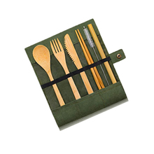 Wholesale eco friendly travel portable wooden flatware reusable organic bamboo fiber spoon fork knife and straw <strong>cutlery</strong> <strong>set</strong>