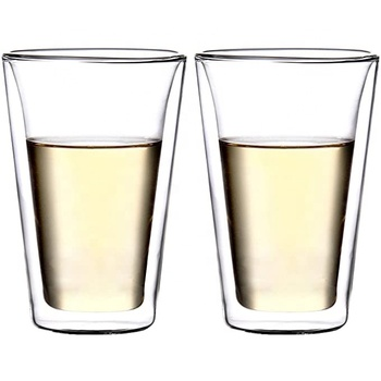 14 oz Crystal Lead Free Glass Double Wall Glasses Tumbler Highball Glass for Beer Cocktail Lemonade Iced Tea