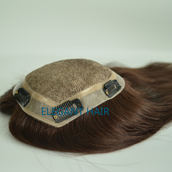Full Silk Top Human Hair Toupee With Clips On