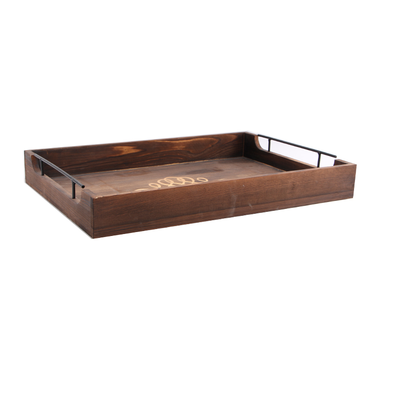 16 Inch Rustic Burnt Wood Rectangular Serving Tray with Handles