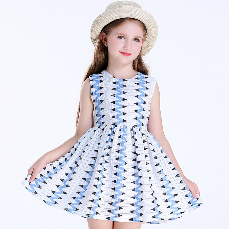 Spring And Summer New Children's Clothes Girls Printed Cotton Dress Holiday Beach Skirt