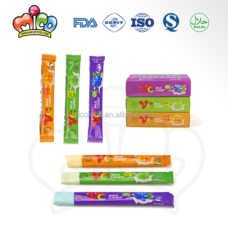 Box packing mix fruity bar shape vc milk candy