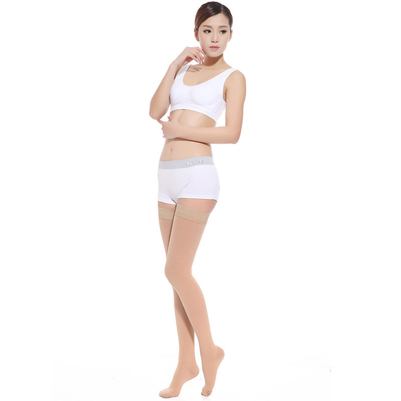 Super Sheer 15-20mmHg Women's Sheer Medical Stocking Thigh High Closed Toe Size: X-Large