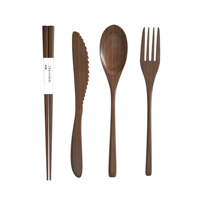 Eco Friendly Disposable wooden biodegradable Reusable Wooden Bamboo Cutlery Travel Set