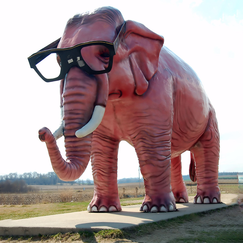 Large Fiberglass Wearing Glasses Elephant Statues