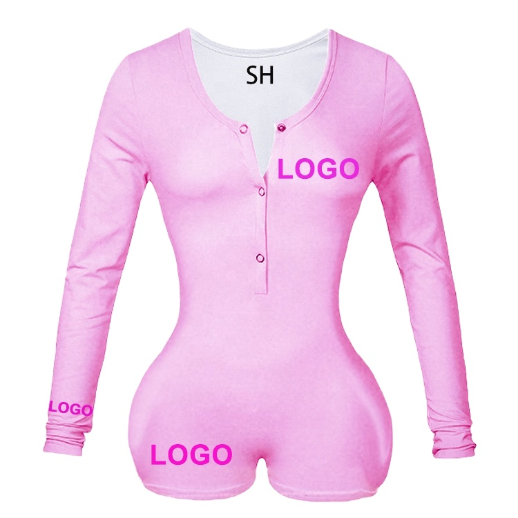 Cheap Wholesale Hot Selling custom logo onesie pijamas woman <strong>cotton</strong> backwoods onesie Women solid color onesie