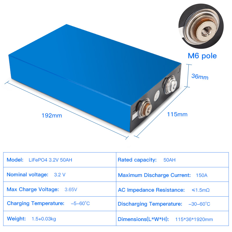 Hot sale lithium batteries prismatic 3.2v 50ah lifepo4 battery cell for storage system