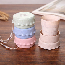 Manufacturer Eco Friendly Wheat Straw Mug Retractable Water Cup Travel Creative Folding Cup Child Student Portable Cup