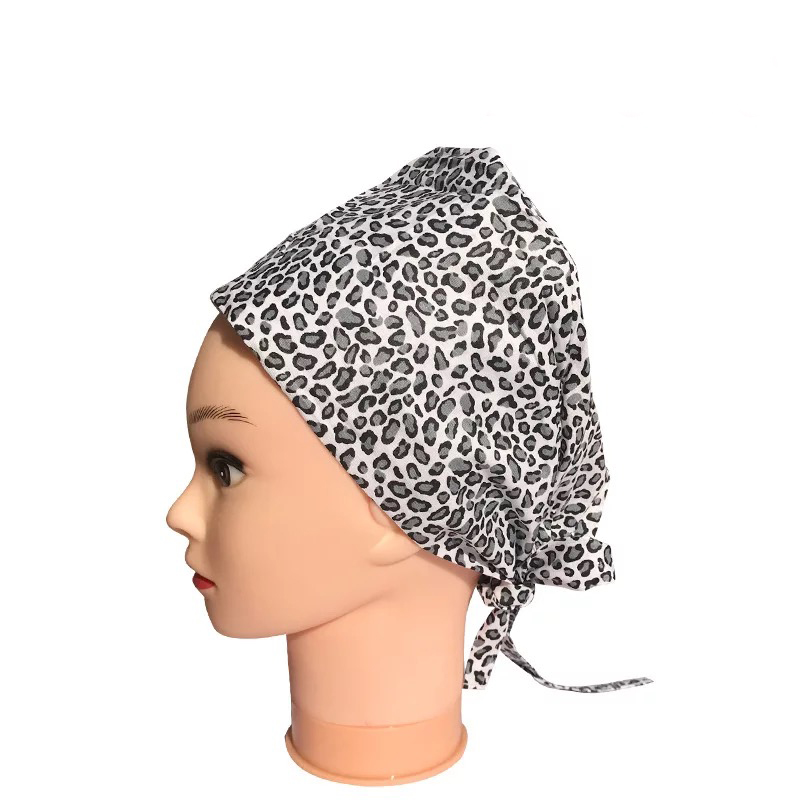 Nursing Scrub Hat Floral Printed Cotton Dentist Hat With Face Mask