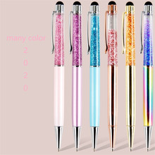 Creative ball pen enterprise LOGO customized crystal <strong>flash</strong> powder quicksand pen business office stationery metal pen