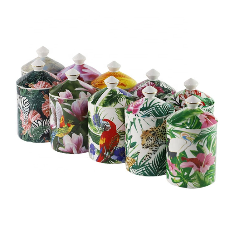 Factory Supply Wedding gift Ceramic Soy Candle Jar With Lids Wholesale