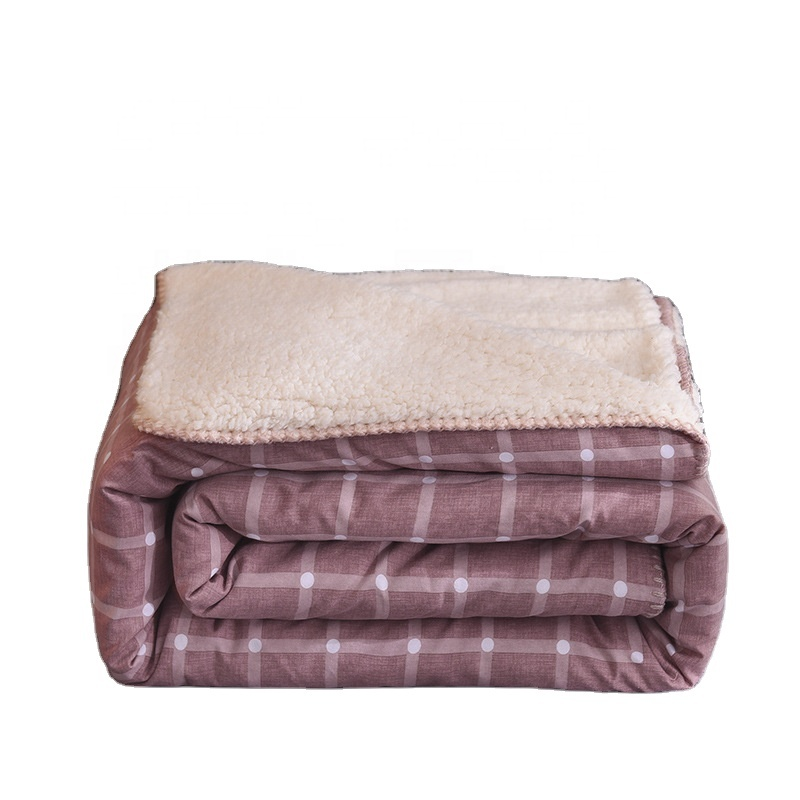 Best Quality Brand Name <strong>Plaid</strong> Printing Pink Throw Sherpa Fleece Blanket