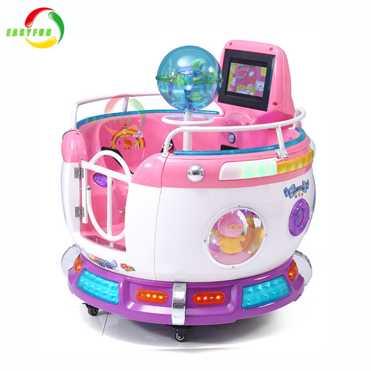 Coin operated mp5 interactive screen rocking kiddie ride rotating kids swing car game machine