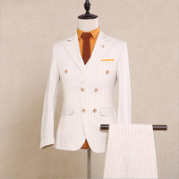New Italy design men suit Double breasted Striped suits men suit